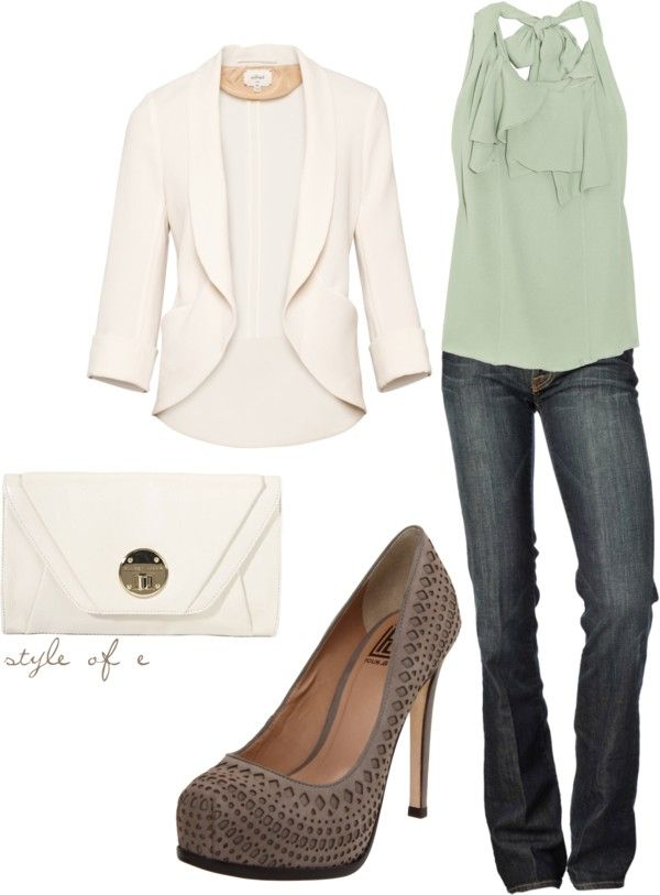Sophisticated outfit with mint and white + heels.Fashion Outfit, Shoes, Mint Green, Casual Friday, White Blazers, Style, Casual Work Outfit, Colors, Dates Night