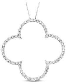Vivid Elegance Woman's 14k Gold Lucky Clover Pendant With 0.50ct Tw Hi I Quality Diamonds. Chain Included (1 1/4 Inch In Length And 1 1/4 Inch In Width).