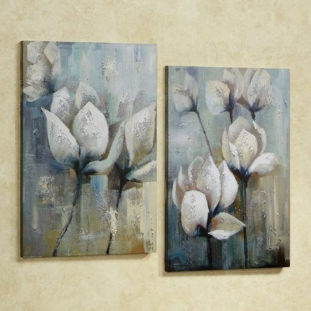 Floral Canvas Art Set Blue Set of Two