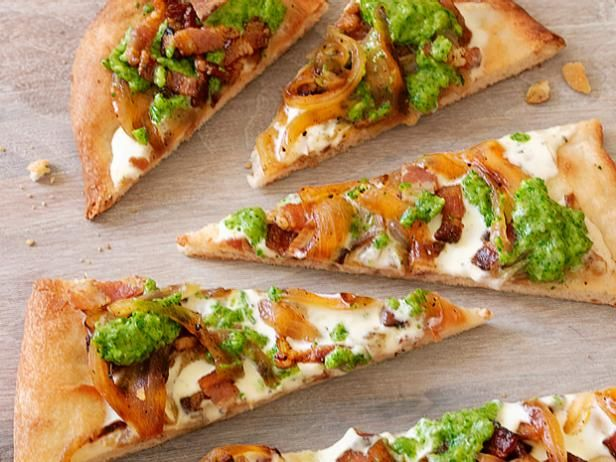 Flatbread with Bacon and Scallion Pesto : Baked pizza dough is the base of Alex's elegant flatbread appetizer, which is layered with lemony creme fraiche, scallion pesto and crisp bacon.
