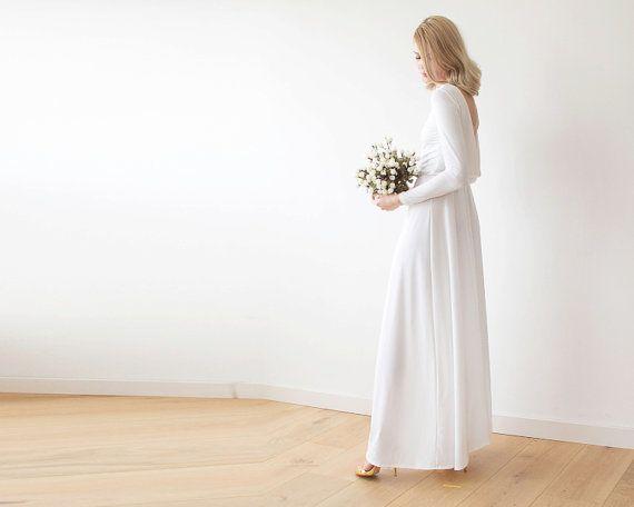 Open back maxi ivory dress Long sleeves wedding by BLUSHFASHION