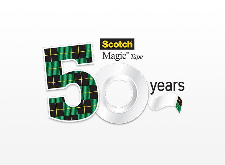 The retro-themed logo uses the brand's well-known plaid design and a roll of Scotch® Magic™ Tape to commemorate the important milestone.