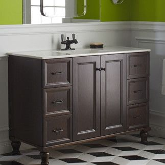 Image On Damask Vanity Base with Furniture Legs Doors and Drawers