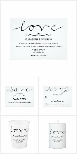 Black And White Calligraphy Wedding Set #wedding #calligraphy #typography #weddings