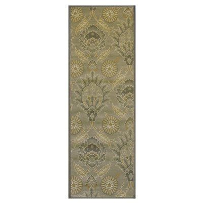 Soft Low Pile Cotton 2ft6in x 8ft0in Area Rug in Olive