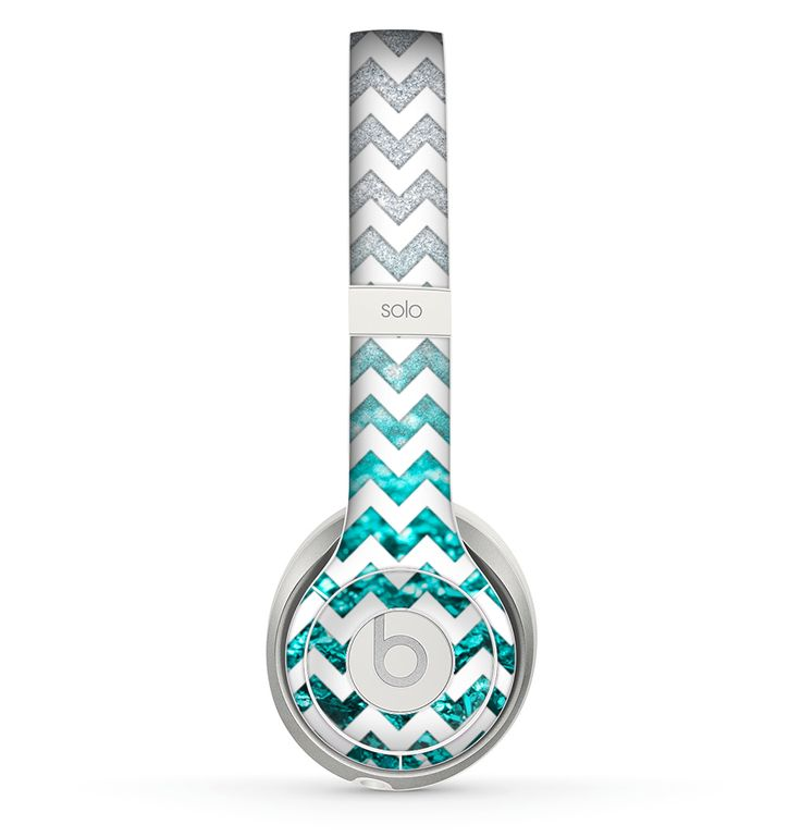 White Chevron Aqua Blue & Silver Glimmer Fade Skin for the Beats by Dre Solo 2 Headphones