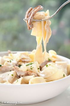 This is a dish I love - the golden chanterelle mushrooms add a little meatiness to the al dente pasta while the white wine and garlic lend a kick to the creamy sauce. It's delicious, quick, feeds two and is ready in under 10 minutes.