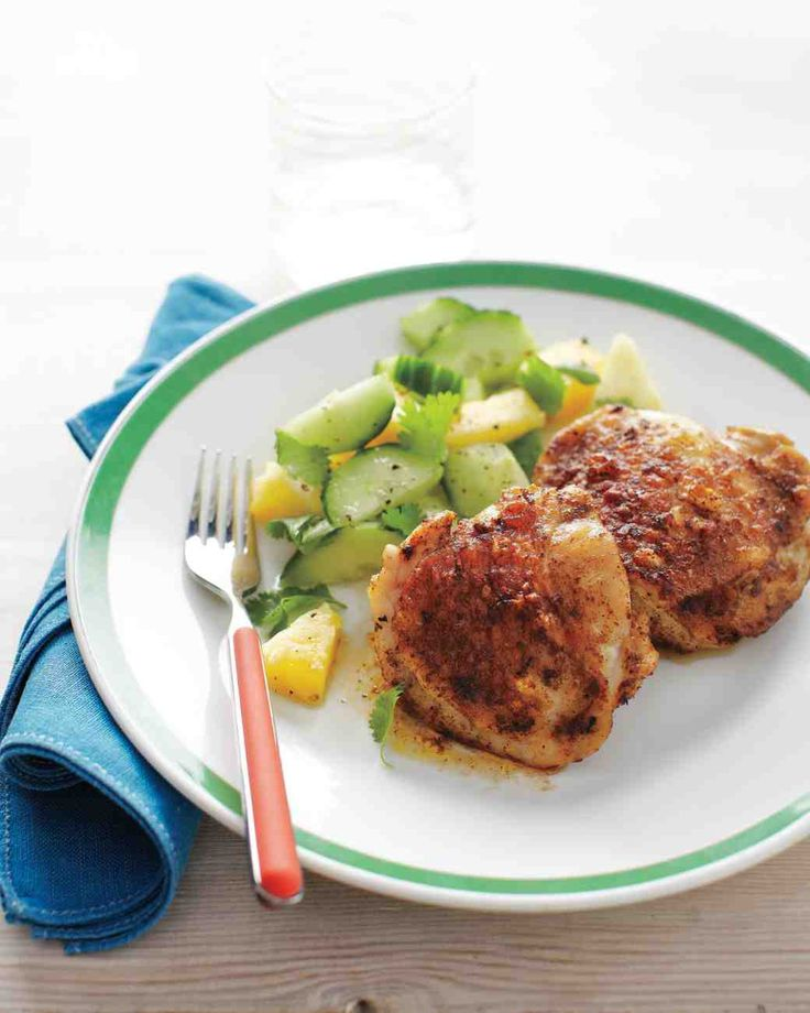 Broiled Chicken Thighs with Pineapple-Cucumber Salad