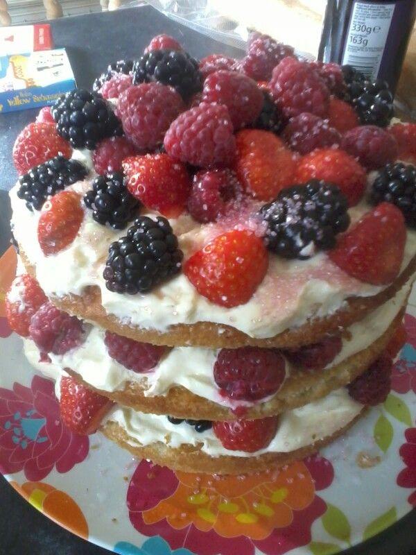 Summer fruit birthday cake