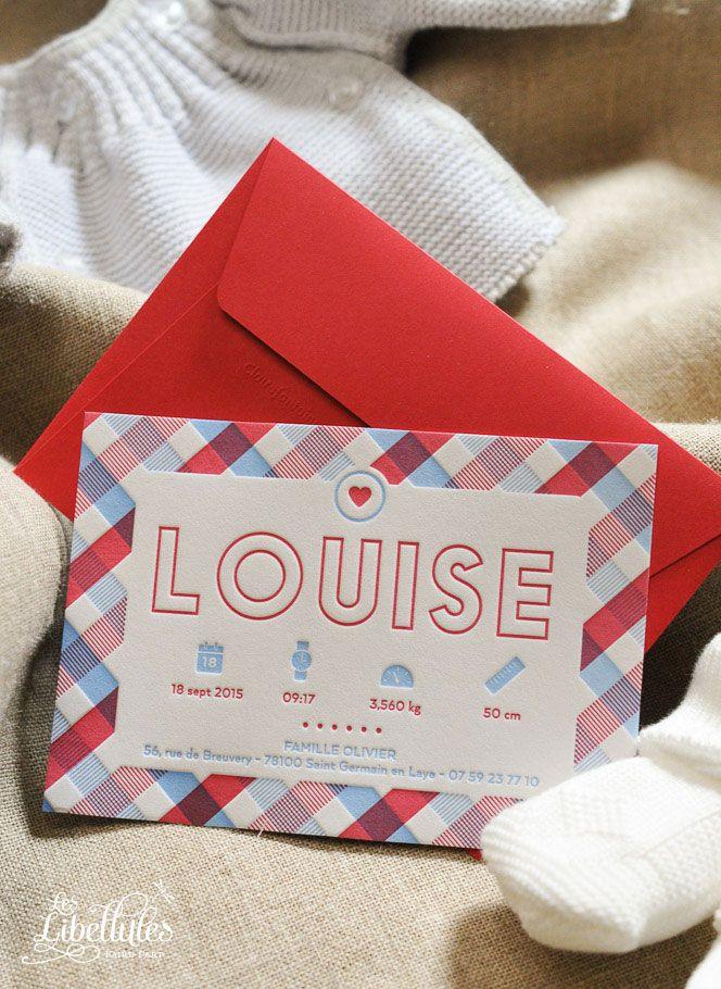 Faire-part de naissance en Letterpress, avec motif à carreaux rouge et bleu. // Letterpress birth announcement, with red and blue checked pattern. www.Les-Libellules.fr