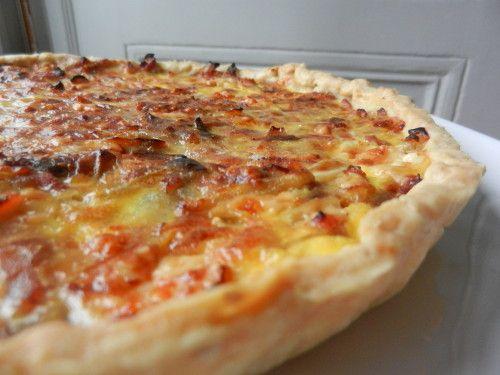 tarte oignons lardons fromage, olives en option, mais conseillées (dénoyautés de préférence)