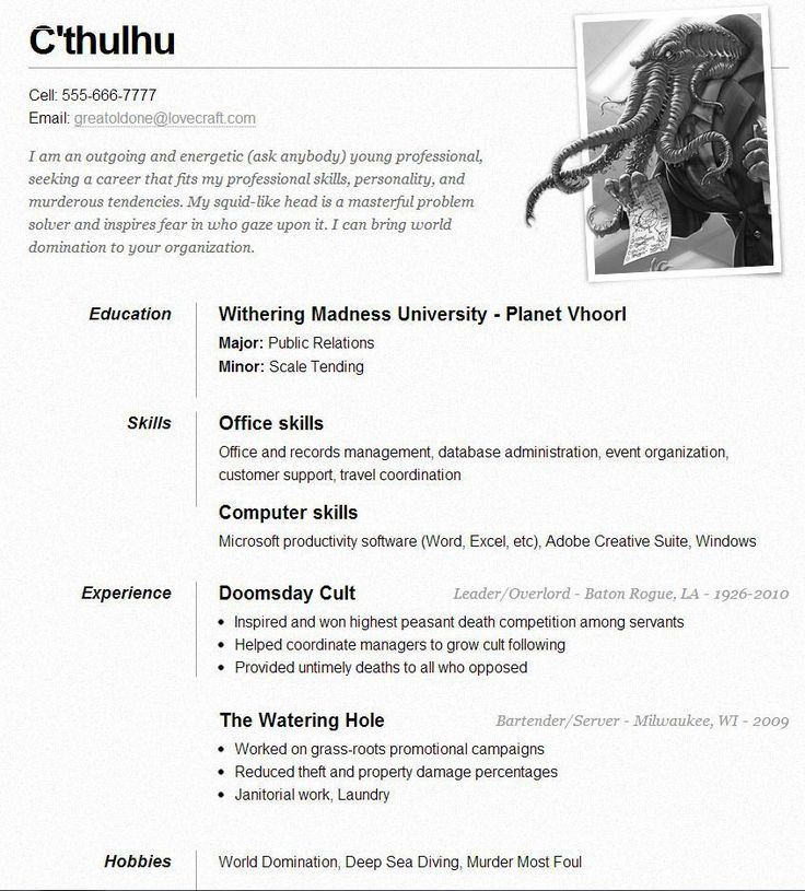 91 best RESUME images on Pinterest Resume, Activities and Cocktails - resume examples for servers