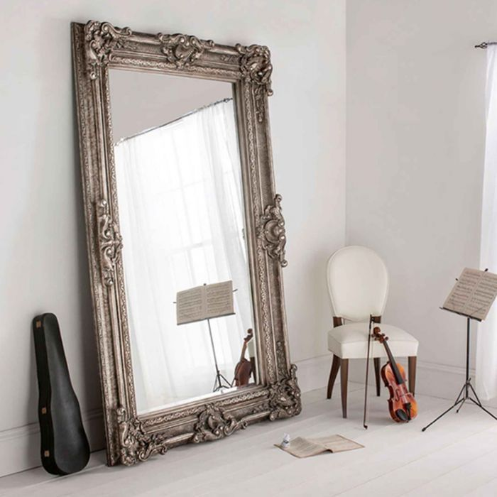 Antique French Style Floor Standing Mirror Silver Buckingham If You Re Looking To Add An Ant Floor Standing Mirror Country Bedroom Decor Big Mirror In Bedroom
