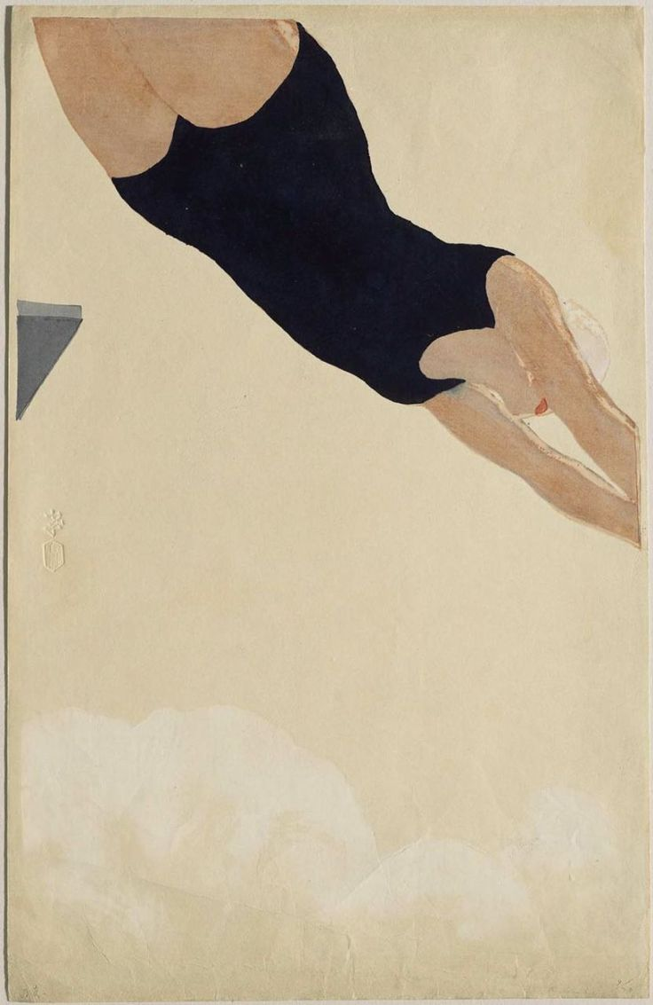 Diving  Onchi Koshiro, 1932  Woodblock print; ink and color on paperSwimming Pools, Onchi Kôshirô, Art Museums, Koshiroonchi, Illustration, Woodblock Prints, Diving, Ink, Koshiro Onchi