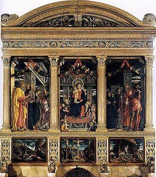 Un uovo dipinto da Mantegna, nella celebre pala di San Zeno.  Nell'ambientazione sopra la Vergine, incorniciata da un rosone ingioiellato del trono, son appesi tra i festoni una lucerna in un bicchiere di vetro decorato da un bordo d'oro con pietre preziose, fili di corallo lavorato e un uovo di struzzo.  Quest'ultimo è simbolo della fecondità di Maria e al tempo stesso della sua verginità, con un richiamo erudito, ma ben comprensibile per gli umanisti del XV secolo, alla leggenda di Leda.