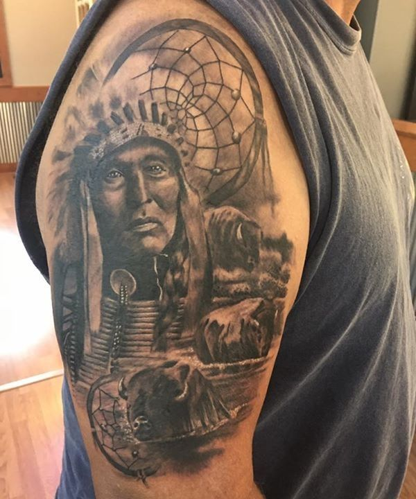 Olio Project Tattoo By Dave From Eternal Tattoos Howell Mi 20170916 Native American Tattoo Sleeve Tattoos Native American Tattoos