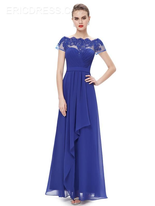 Ericdress Pretty A-Line Bateau Appliques Long Evening Dress   1