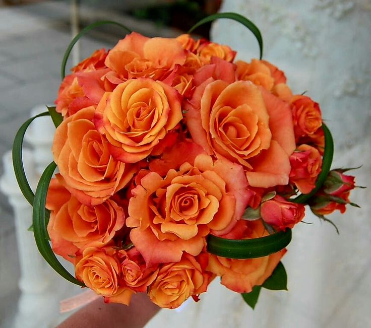 Orange Roses Spray Green Lily Grass Loops Wedding Bouquet