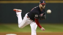 Corey Kluber, former Stetson star, was World Series hero of Game 1 in 2016. He set a Series record. Photo courtesy of MLB
