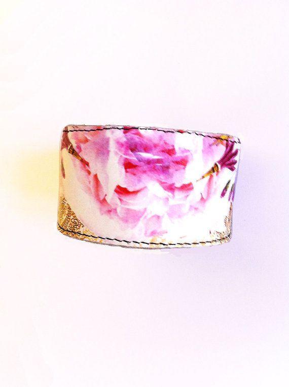 Jewelry Rose Gold Leather Fitbit Flex Cuff / Fitbit One, Fitbit Charge HR Cuff / Floral Rose Gold Misfit Shine Vivofit / Wearable Technology -…