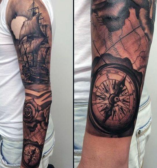 70 Compass Tattoo Designs For Men - An Exploration Of Ideas   Navy tattoos, Compass tattoo ...