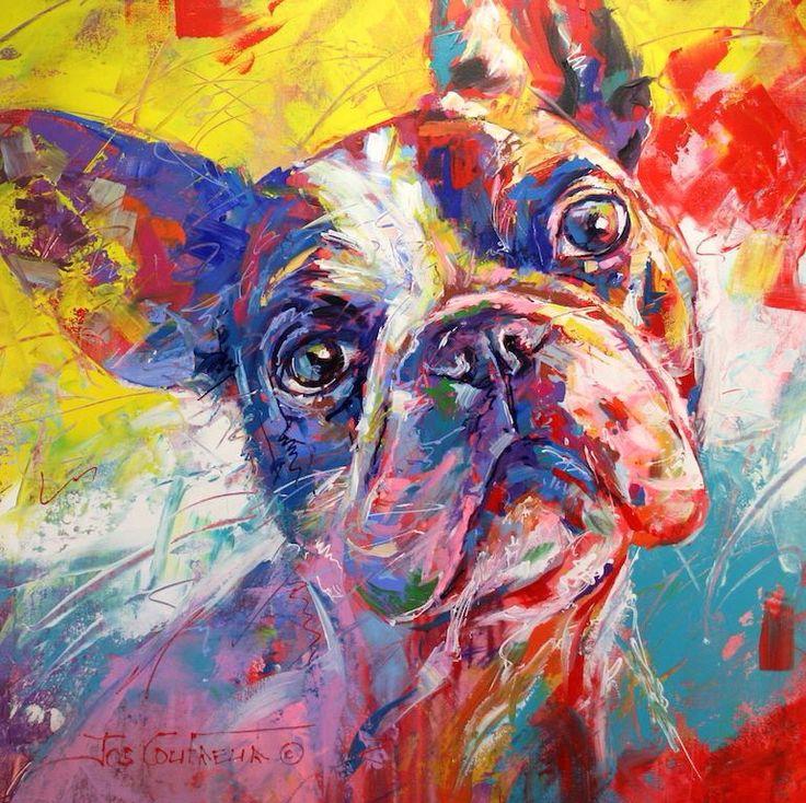 French Bulldog, Acrylic on Canvas, 120cmx120cm by Artist