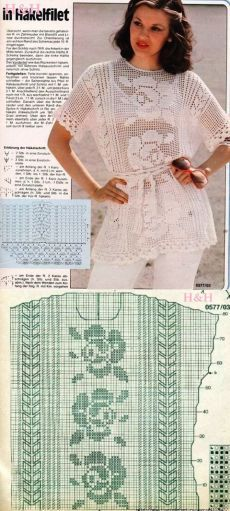 Филейное вязание туника. Филейное вязание туники схемы | Лаборатория домашнего хозяйства