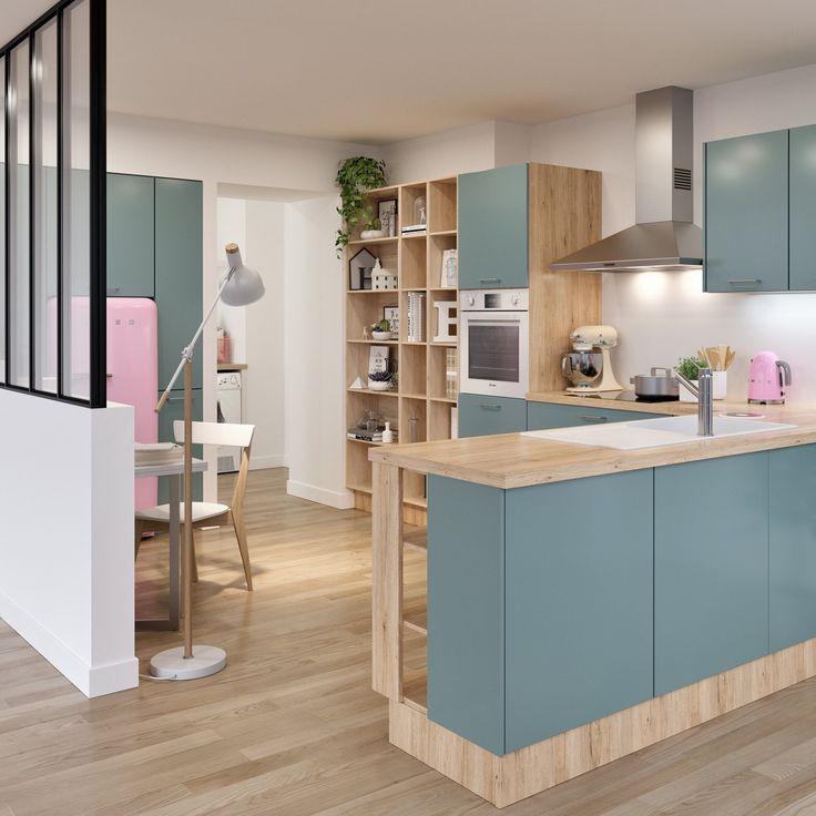 cuisine bleu et bois clair avec une verrire cuisine et salle manger intgre et - Cuisine Avec Salle A Manger Integree