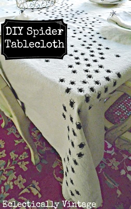 Halloween Crafts -  Make this Swarming Spider Tablecloth - be the hit of your dinner party!  eclecticallyvintage.com