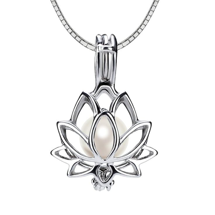 Ny 925 Sterling Silver Lotus Flower Pearl Locket Pearl Pendant Necklace -- Visit the image link more details.
