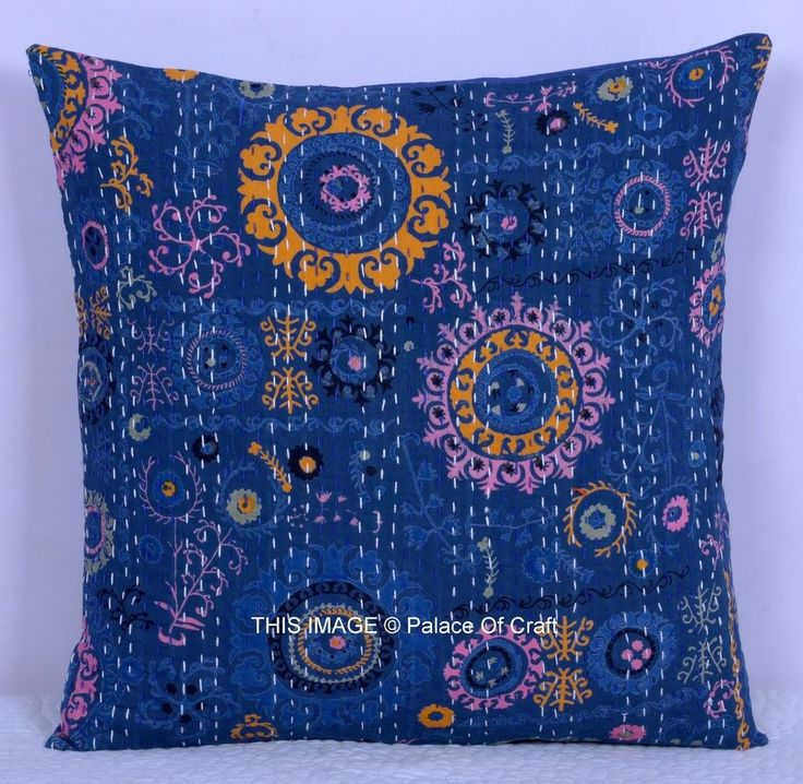 """INDIAN 16"""" TRADITIONAL CUSHION COVER BLUE FLORAL ETHNIC PILLOW CASE HANDMADE ART #Handmade"""
