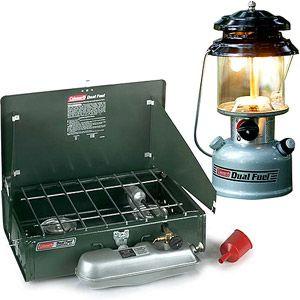 Coleman Dual Fuel Stove and 2 Mantle Lantern Value Bundle