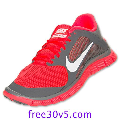 Half Off Nike Free Wholesale,Nike Free 4.0 V3 Womens Cool Grey White Total  Crimson