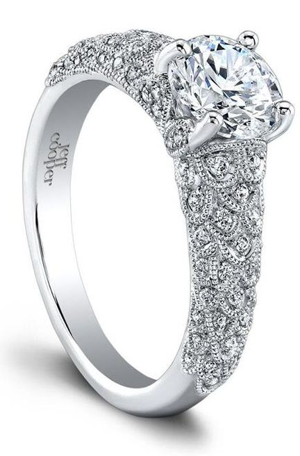 The beautiful Arielle diamond engagement ring by Jeff Cooper. Via Diamonds in the Library.