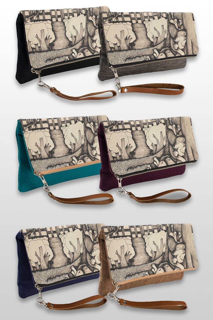 """It's cold out there"" Illustrated Wolf Couple Clutch Bag, available in 6 different colors.   #wolf_products #wolf_art #wolf_illustration #cute #sepia"