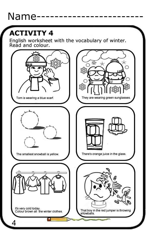 Read And Colour Free Worksheet To Print Winter Vocabulary In English Lee Y Colorea Fichas Gratis Para Imprimir Voc Vocabulary Worksheets Free Name Activities