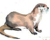 Otter, Original watercolor painting, 9 X 12 in, river otter, wildlife, animal art