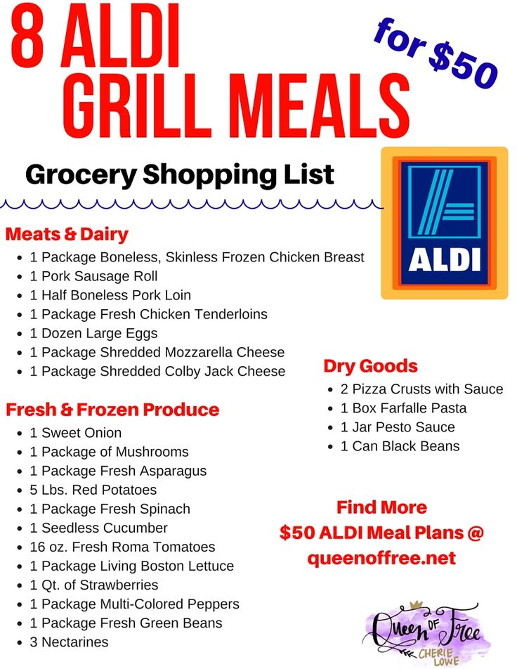 I LOVE this ALDI Meal Plan! 8 creative meals to fix on your grill for $50 - Breakfast Pizza, Campfire Potatoes, and more. No Hot dogs or hamburgers!