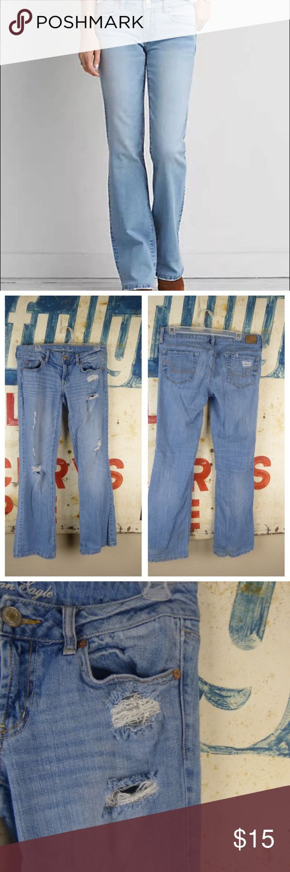 """American Eagle Outfitters Favorite Boyfriend Jeans American Eagle Outfitters Distressed Favorite Boyfriend Jeans Size 6 Gently used  No flaws  98% cotton and 2% spandex 7"""" rise 16"""" across the waist 31"""" inseam American Eagle Outfitters Jeans Boyfriend"""