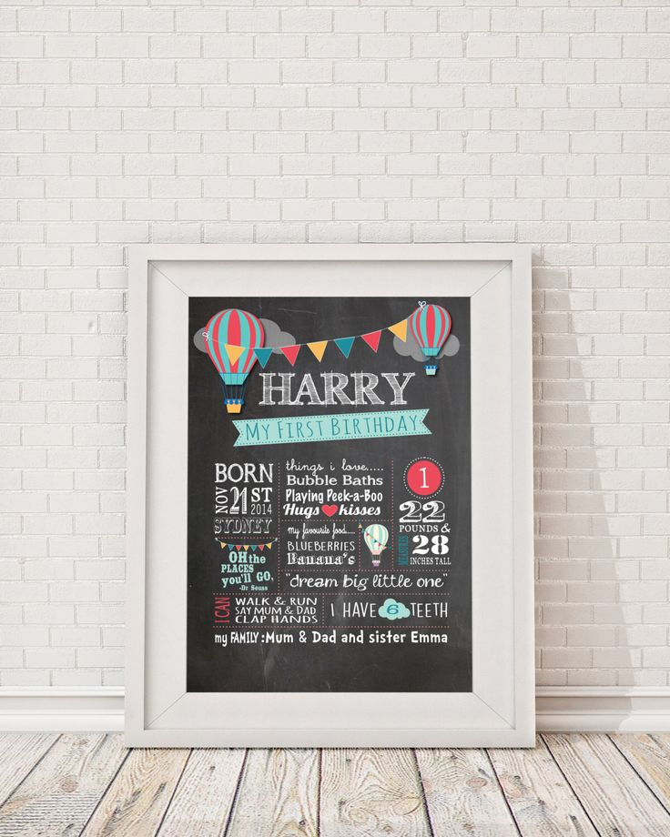 """First Birthday Hot Air Balloon Chalkboard Poster  Billboard, Milestone Poster, Birthday Boy """"Oh the places you'll go"""" """"Dream Big Little One"""" by ScissorsPaperPrint on Etsy https://www.etsy.com/listing/251316473/first-birthday-hot-air-balloon"""