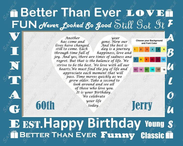 60th Birthday Gift Sixty Birthday Love Poem Heart Personalized 8 X 10 Print 60th Birthday Gift Ideas