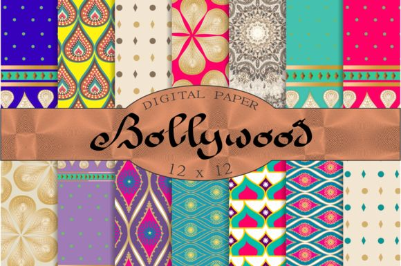 Bollywood digital paper by Kiwi Fruit Punch on @creativemarket