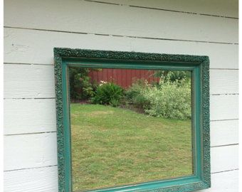 LARGE WALL MIRROR, Shabby Chic, Turqoise Blue Chalk Paint Ornate Bathroom Living Room Wall Hanging/ Leaning Mantle Mirror