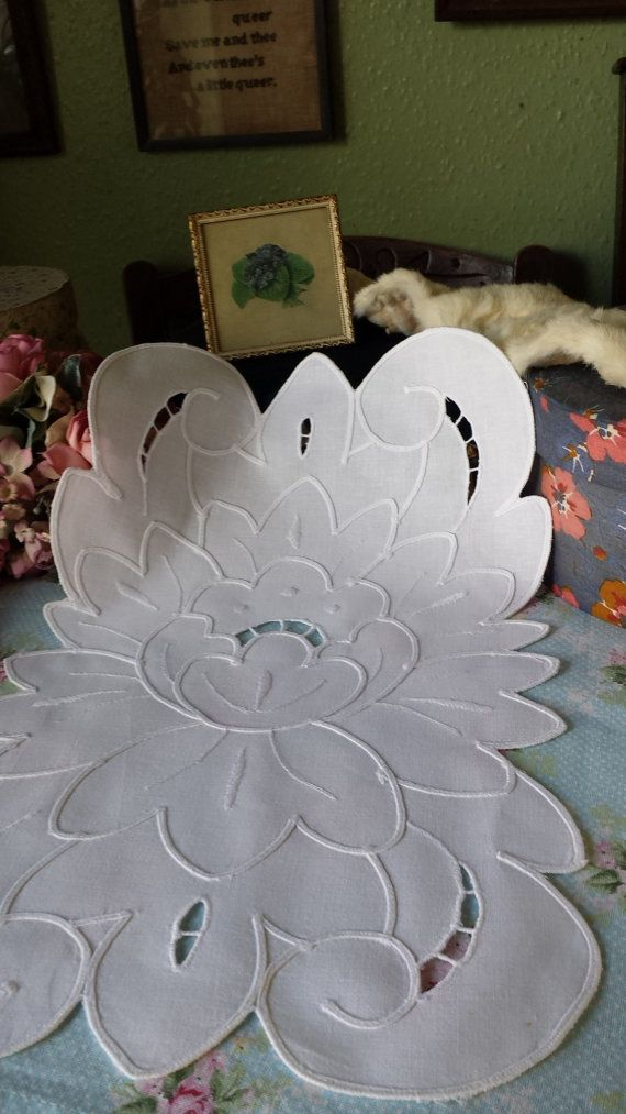 Shabby Chic Vintage Embroidered by TheVintageLinenChest on Etsy