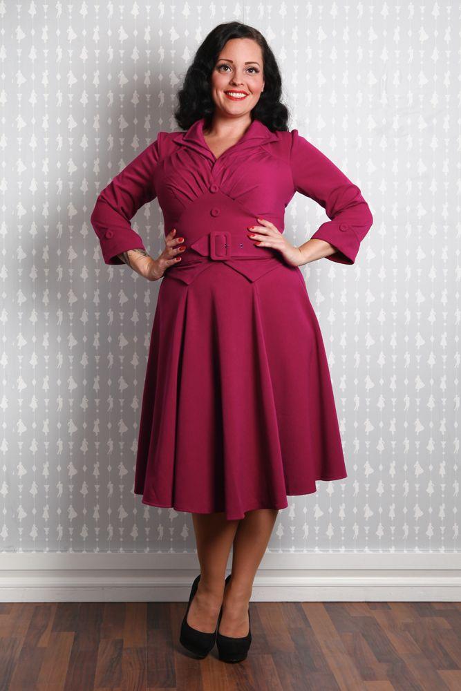 Joanne-Raspberry - Sophisticated tailored swing dress
