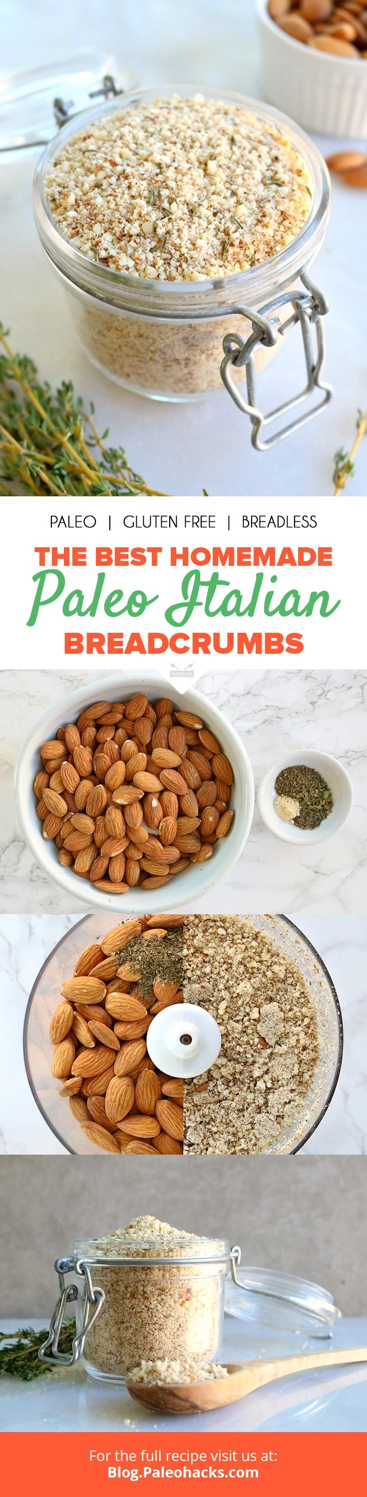 """Herbed raw almonds create go-to """"breadcrumbs"""" you can coat on chicken tenders, add to meatballs or on top of Paleo mac-n-cheese! Get the full recipe here: http://paleo.co/paleobreadcrumbs"""