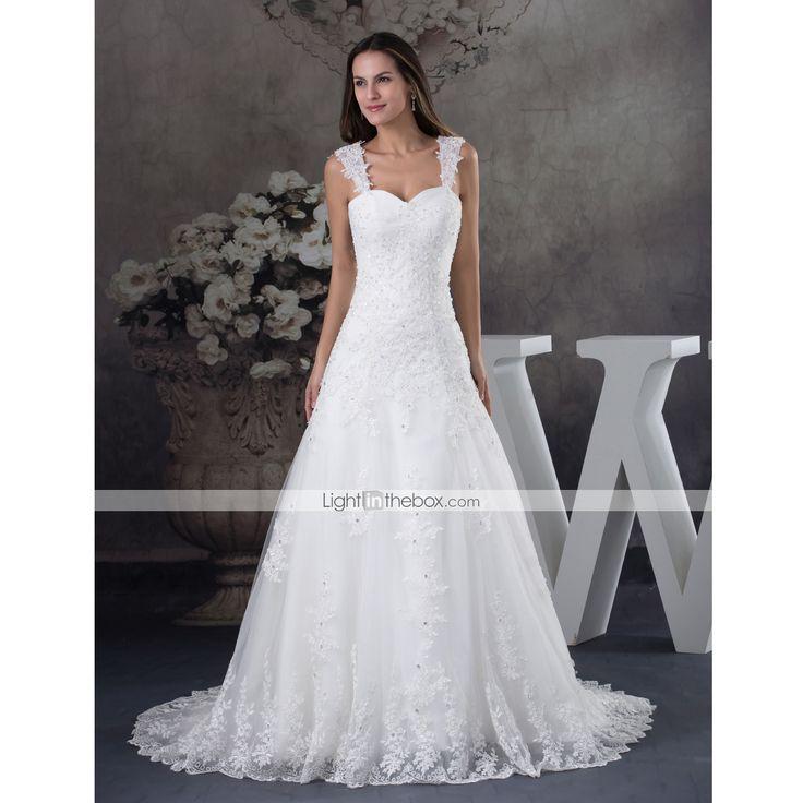 Vestido de Noiva-Marfim Trapézio Alças Cauda Corte Cetim / Tule de 4968728 2016 por $145.49