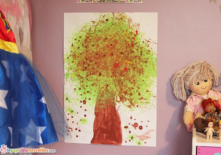 bricolage d 39 automne peindre un marronnier avec une fleur de douche arbre d 39 automne activit. Black Bedroom Furniture Sets. Home Design Ideas