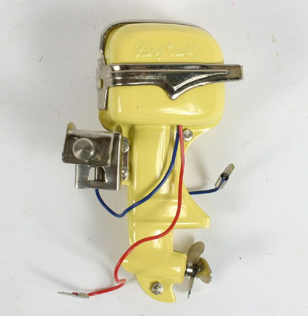 "Lang Craft toy electric outboard boat motor; vintage Japanese mfg., 3 1/2""H. Very good condition."