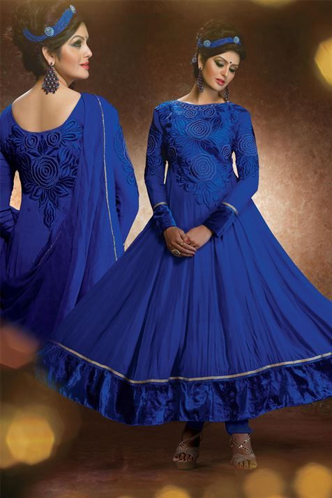 Glamorous Blue Georgette Resham Embroidered Ankle Length Anarkali Suit